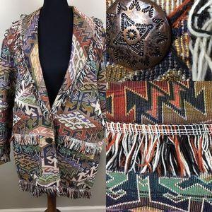 Vintage southwest print fringe blanket coat size18